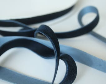 5/8 inch Prussian Blue VELVET Ribbon by the Yard / 16 MM Velvet Ribbon / Velvet / Prussian Blue / ER-VV226