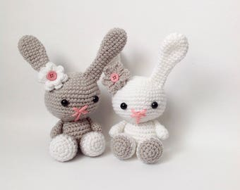 Crochet Girl Bunny Plush Toy Grey or White