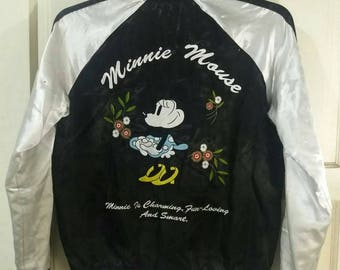 MINNIE MOUSE Vintage Reversible Satin Bomber Jacket Sukajan Jacket. Boys Large size. Womens Small size