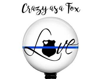 "Thin Blue Line ""Love"" Retractable Badge Holder, Police Badge Reel, Lanyard, Stethoscope ID Tag, Nurse, RN, Doctor, Teacher Gift"