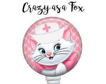 Nurse Marie Retractable Badge Holder, Badge Reel, Lanyard, Stethoscope ID Tag, The Aristocats Nurse, RN  Gift