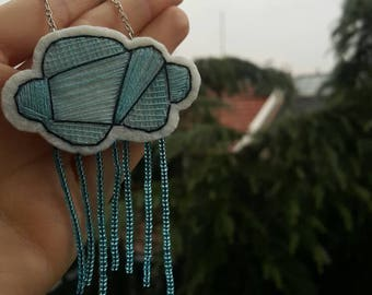 Cloud Felt Necklace, Rainy Cloud