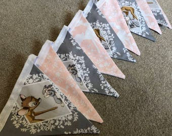 Handmade disney bambi pink & grey bunting, 10 triangles. Perfect for a childs bedroom/ babies nursery or baby shower.