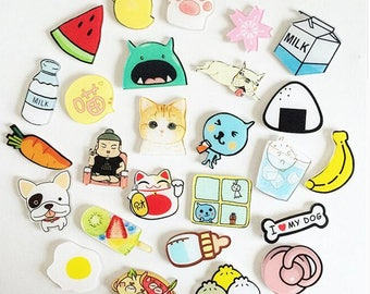 Cute Badges, Cute Pins, Cute Icon Badges for Backpack, Badges