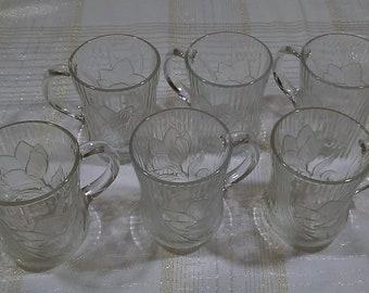 Arcoroc Canterbury Crocus Etched Glass Mug, Herringbone Floral Pattern, Made in France