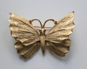 "Vintage B.S.K. BSK Brushed Gold Tone Fashion 2.50"" Butterfly Moth Pin / Brooch"