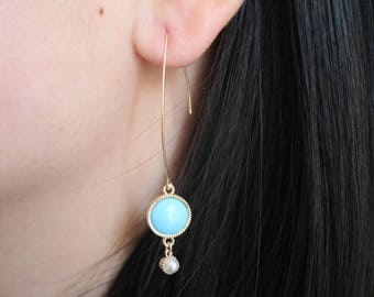 Blue Turquoise Earrings. Pearl Earrings. Long Hoop Earrings. Gold Hoop Earrings. Drop Earrings. Dangle Earrings