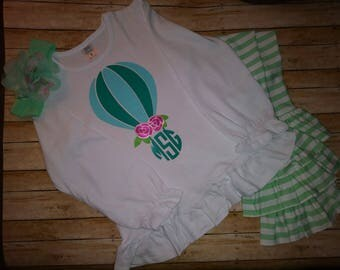 Girls Hot Air Balloon Shirt, Balloon Birthday Shirt, Girls Mogrammed Shirt, Girls Birthday Shirts
