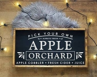 Apple Orchard Sign Etsy