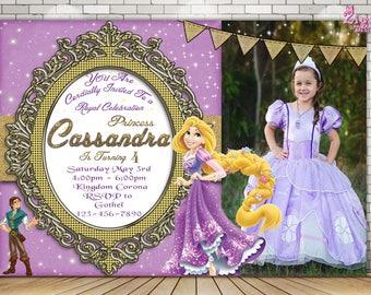 Rapunzel Invitation, Rapunzel birthday invitation, Tangled, Rapunzel birthday,  Princess Invitation, Tangled  Photo Birthday Invitation