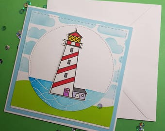 Lighthouse - seaside theme Handmade card