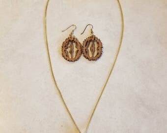 Walnut Shell Necklace and Earrings