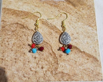 Drop Earring Southwestern style silver with gold hooks