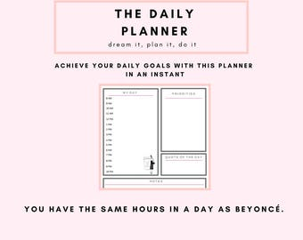 Daily Planner Printable, Planner Inserts, Downloadable Planner.  Downloadable Daily Planner