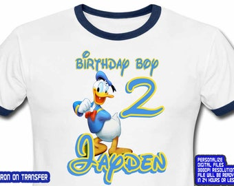 Donald Duck Iron On Transfer , Donald Duck Birthday Shirt DIY , Boy Birthday Shirt DIY , Donald Duck Shirt DIY,Personalize Name,Digital File
