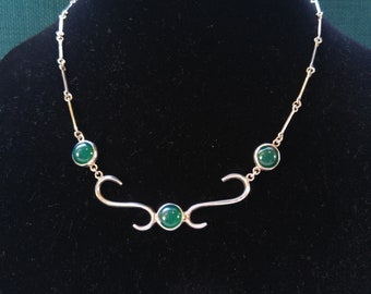 Silver Taxco Art Deco Green Glass Necklace- Mexican Silver- Southwestern Jewelry- Green Jewelry-  One of a kind Gift- St. Patrick's Gift
