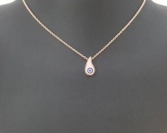 Evileye enamel teardrop necklace, 14K rose gold evil eye enamel pendant, minimalistic and mystic fashion jewelry, valentine's day gifts