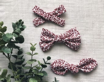 Maroon Floral Clean Classic Hand Tied Bow Bubble Knot Bows Nylon or Clip