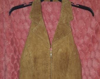 90s Vintage Wilsons Genuine Leather Halter Top (Size Medium)