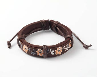 Leather Bracelet * Flower Brown