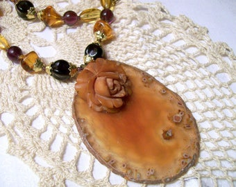 Upcycled Amber Agate Geode Slice Necklace Recycled Statement Necklace Carved Bakelite Rose Vintage Purple Glass Beads