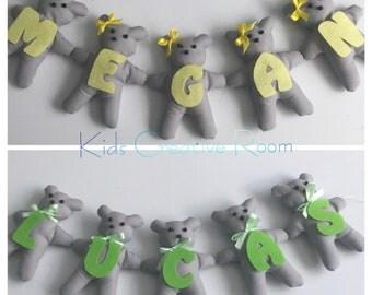 Personalised any girl boy name on fabric teddy bear garland nursery baby shower gift