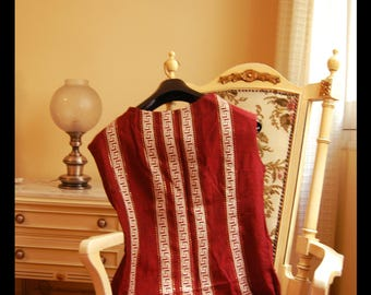 Vintage Greek Dress in Dark Red Wool and Cotton