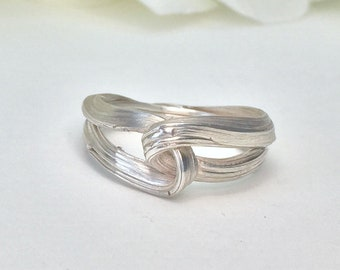 Wedding / Engagement Ring, Sterling Silver, knot, nature ring, entwined, organic ring, orokoro
