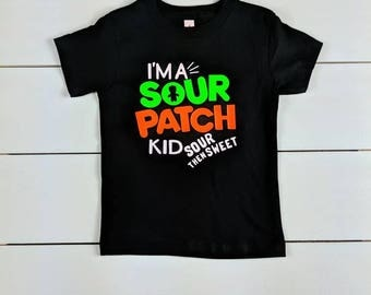 Custom made t-shirt. Sour patch, sweet then sour. High quality shirt. Black.