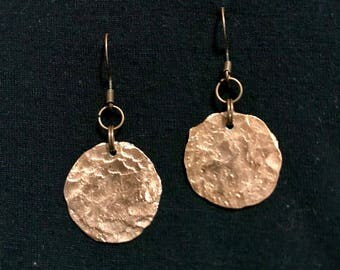 Hammered copper penny earrings