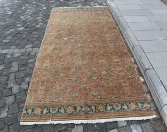 Unique oushak rug, Free Shipping 4.3 x 6.2 ft. bohemian area rug, bedroom rug, decorative boho rug, aztec rug, floral design rug, MB270