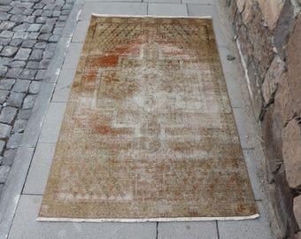 Free Shipping faded colored turkish rug 3.2 x 5.4 ft. tribal rug, small area rug, bohemian decor rug, oushak rug,ethnic wool rug, MB379
