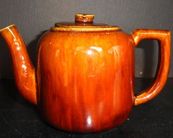 Antique Teapot Brown Glaze Molasses Glazed Teapot Impressed with S MINT