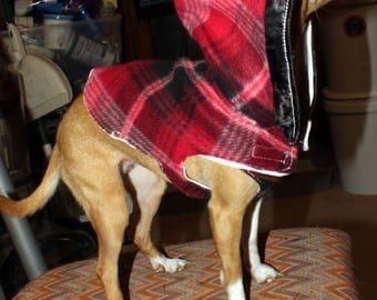 handmade small dog hoodie red flannel
