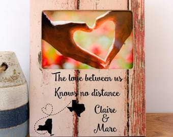 Long Distance Boyfriend Girlfriend Frame Long Distance Relationship Gift Frame Couples Frame Personalized  Frame