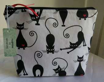 Handmad 100% cotton make up bag cat with red heart project bag knitting bag cosmetic bag