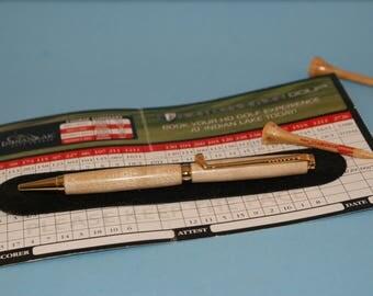 Golfer's Pen, slimline ballpoint, recycled maple,  Nova Scotia Canada, twist ,Cross style, sports theme, Wood pen, wooden pen, WoodsmithPens