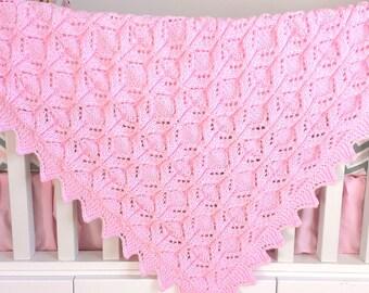 Hand Knit Baby Blanket - Newborn - Baby Shower Gift