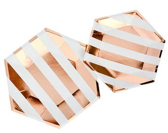 Hexagon bronze paper plates - birthday paper plates, striped paper plates, paper plates pack, baby shower tableware - 8 pieces