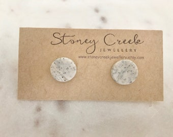 Unique grey polymer clay earrings