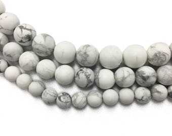 Matte White Howlite Natural Beads - 8mm, 10mm, 12mm