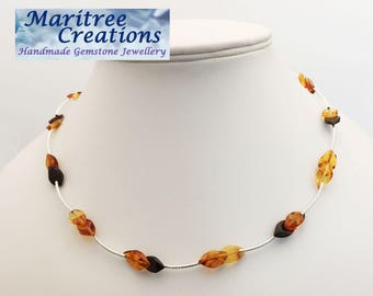 "925 Sterling silver 18"" necklace with Baltic Amber."