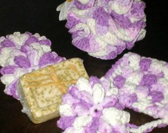 100 % Cotton  Crochet Bath Pouf Bundle- scrubies- pouf- soap saver- soap