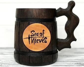 Sea of Thieves Stein. Gamer Mug. Sea of Thieves Gift. Sea Of Thieves Mug. Custom Beer Steins Wooden Beer Tankard Personal Gifts for Men #89