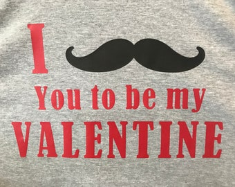 "Men's I ""Mustache"" you to be my Valentine's T-shirt"