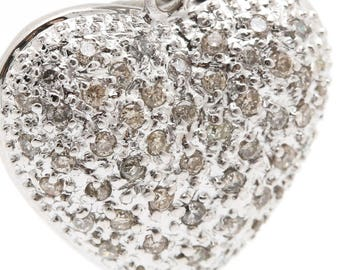 Estate Diamond 14k heart pendant