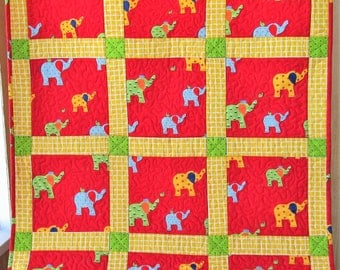 Red Elephant Baby Quilt