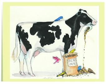 "Notecard ""Cow Feeder"""