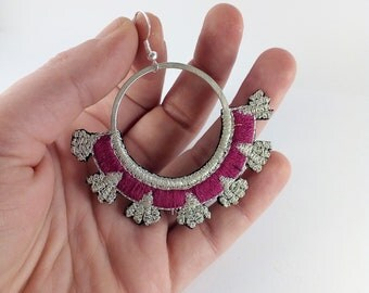 Embroidered by hand, hoop earrings Fuchsia and silver.