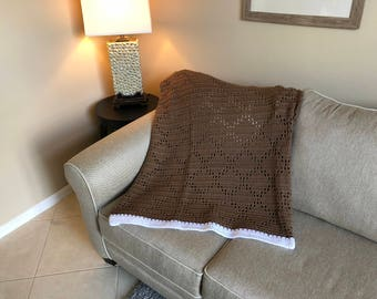 Brown & White Diamond Pattern Afghan